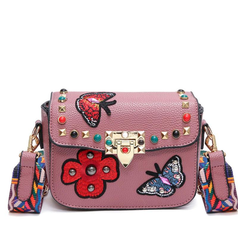 50448b341416 2017 Butterfly Animal Pattern Fashion Mini Women Bags Rivets ...