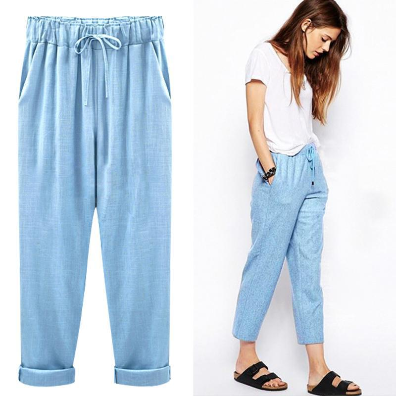 Compre 2019 Pantalón De Lino Pantalón De Cintura Elástica Para Mujer De  Algodón Para Mujer Pantalones Anchos De Verano Para Mujer Pantalones Harem  De Talla ... 32f79f60caba