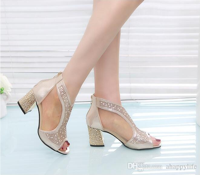 Ladies' new Korean version casual drill fish mouth high and net gauze coarse summer fashion cool shoes