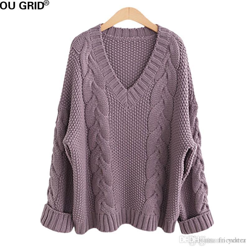 1f1a325efd4f8 Wholesale- Thick Sweater Women Plus Size XL-5XL Winter Warm Solid ...