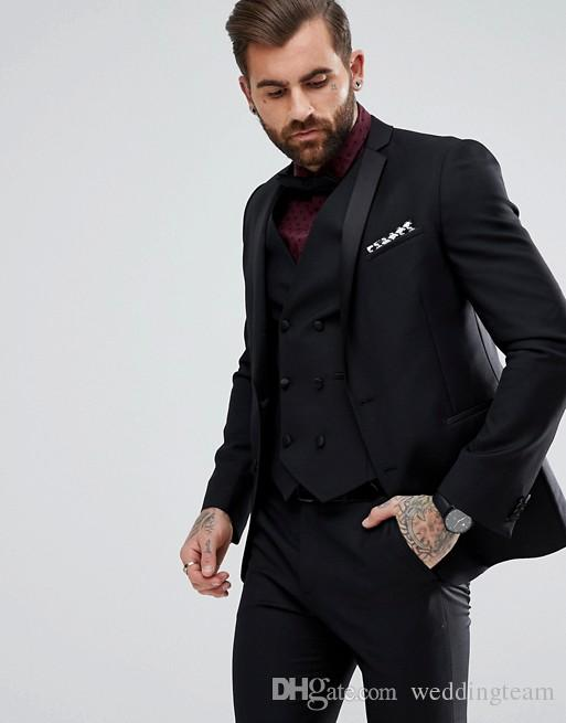 High Quality Black Mens Suits Slim Fit Custom Made Groomsmen Wedding Tuxedos For Men Blazers Plus Size Prom Suit (Jacket+Vest+Pants)