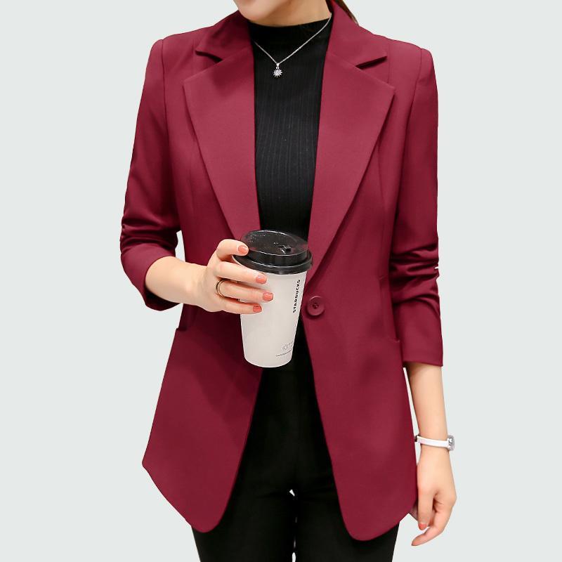 2191d9f2e2851 Acheter Vin Rouge Noir Femmes Blazers Et Vestes 2018 Nouveau Printemps  Automne Mode Simple Bouton Blazer Femenino Dames Blazer Femme S18101306 De   25.41 Du ...