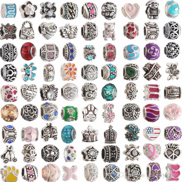 Colores de la mezcla Metal Drop Oil Gran agujero Loose Beads charm Para Pandora DIY Jewelry Bracelet Para Pulseras Europeas mx03 KKA1060