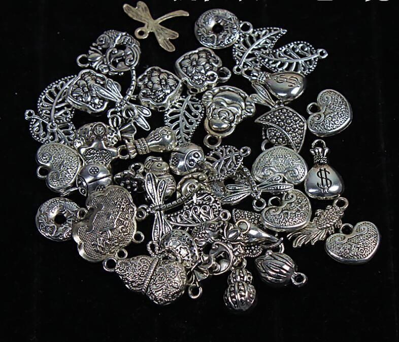30Pcs//Lot DIY 3D Angel Tibetan Silver fit Charms Pendants Bracelet Beaded