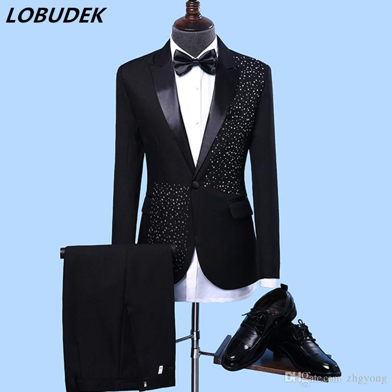 2019 Men S Formal Suits Black White Crystals Slim Blazers Group Musical  Performance Costume Wedding Party Prom Nightclub Host Singer Stage Suit  From Zhgyong ... aaff69b39bb8