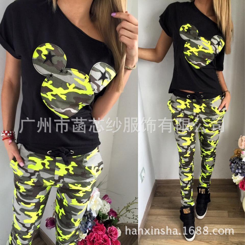 90f47f122 Compre Pantalones De Chándal De Estampado De Camuflaje Mujer Conjunto De Trajes  Deportivos Camiseta Pantalones Largos Conjunto De Dos Piezas Conjunto ...