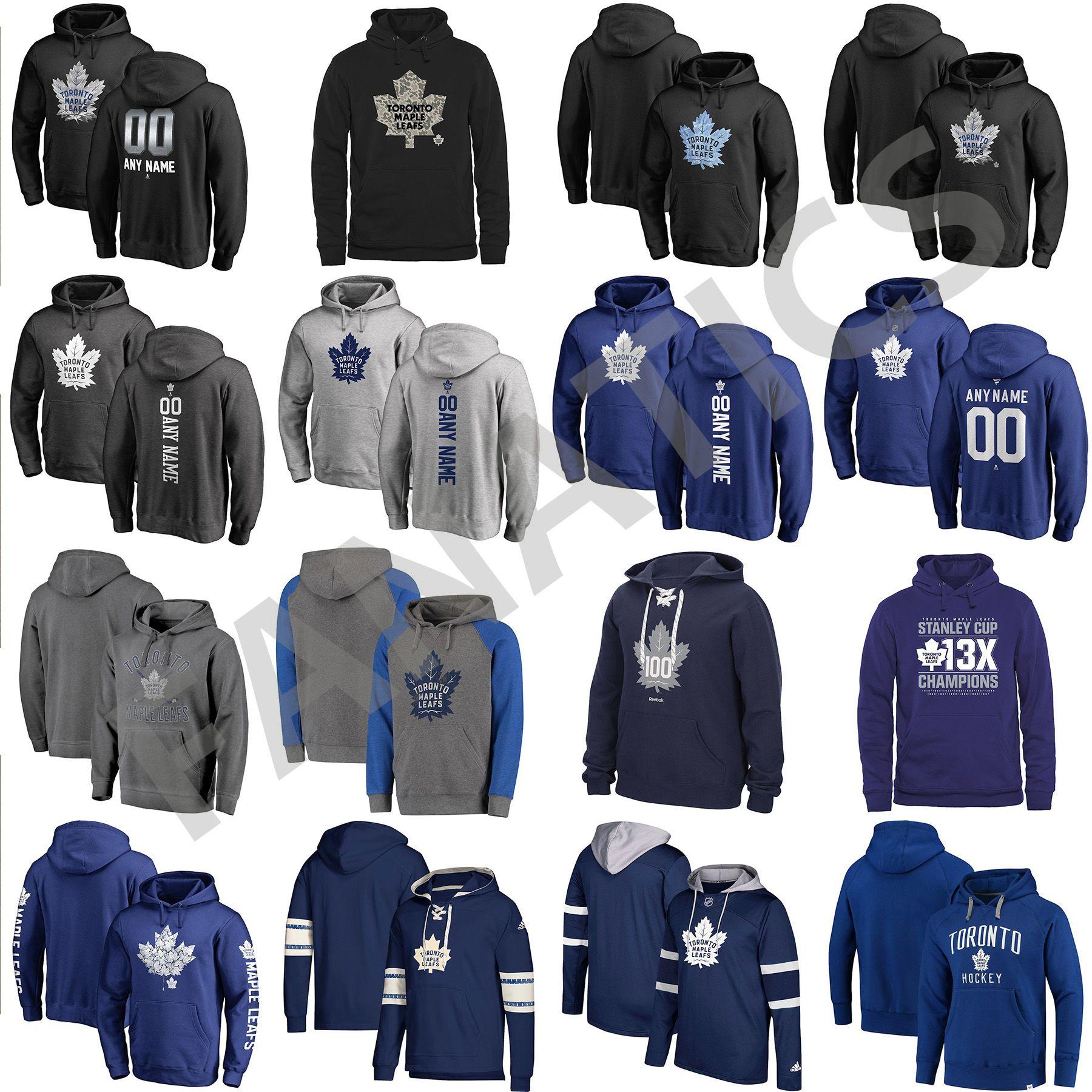 super popular 34129 5cb84 Cheap Custom Mens Womens Kids Toronto Maple Leafs Best Quality Embroidery  Logo Black Blue Gray Navy Hockey Hoodies with Any Name & Any No.