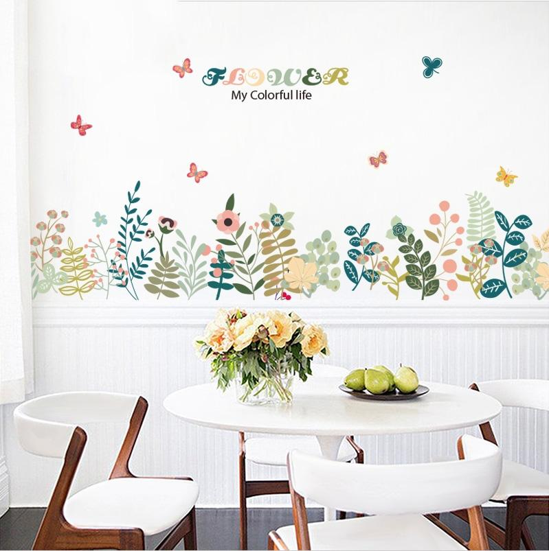 Fresh Plants Flower Wall Stickers Home Decor Living Room DIY Butterfly  Decals Women Home Bedroom Living Room Kitchen Decor Home Decal Stickers  Home Decals ... 537fcd987