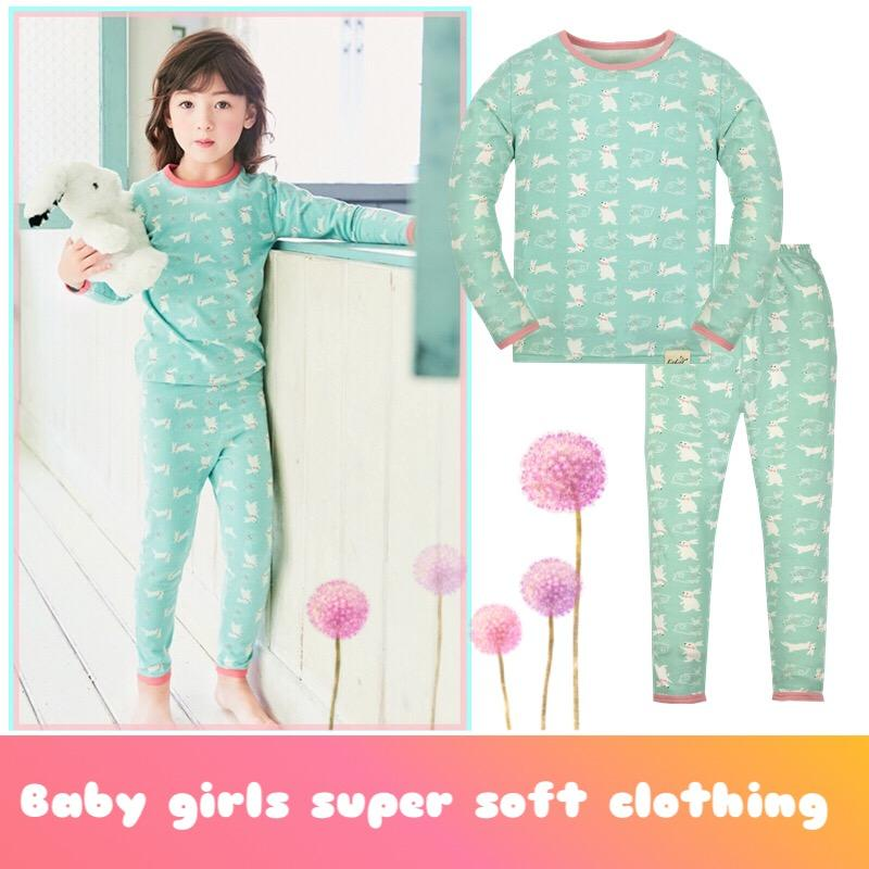 d65bafb99d Girls Pajamas Rabbit Cartoon Long Sleeve Soft Cotton Round Neck Pink Green  Baby Girls Pajamas Set 3 To 7 Years Pajama Infantil Red Christmas Pajamas  For ...