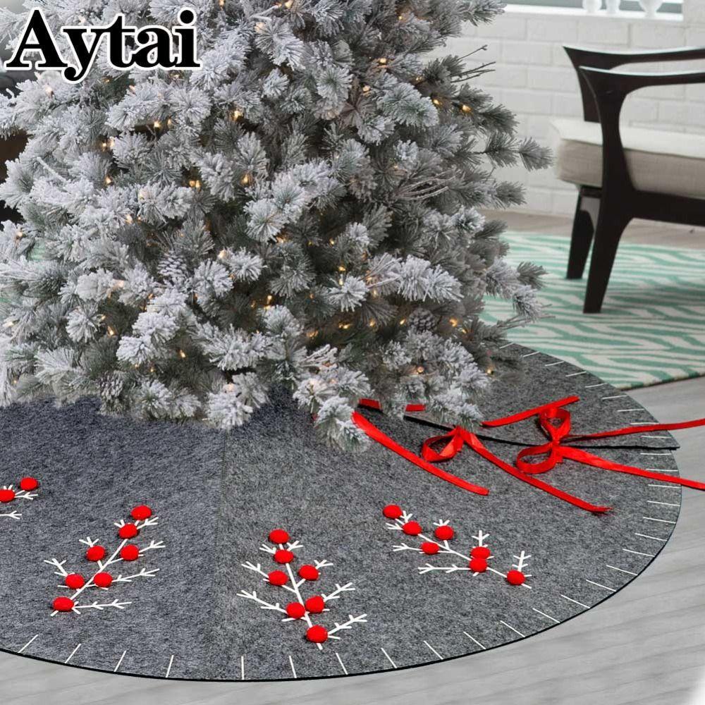 Weihnachtsbaum Ast.Aytai 48 Zoll Runde Grauer Filz Weihnachtsbaum Rock Mit 3d Pom Pom Balls Ast Weihnachten Frohe Weihnachten Dekoration Für Zuhause