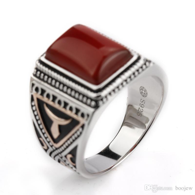 2018 Trendy 925 Sterling Silver Setting Red Agate Rings for Men Ring Finger Men Ring Jewelry