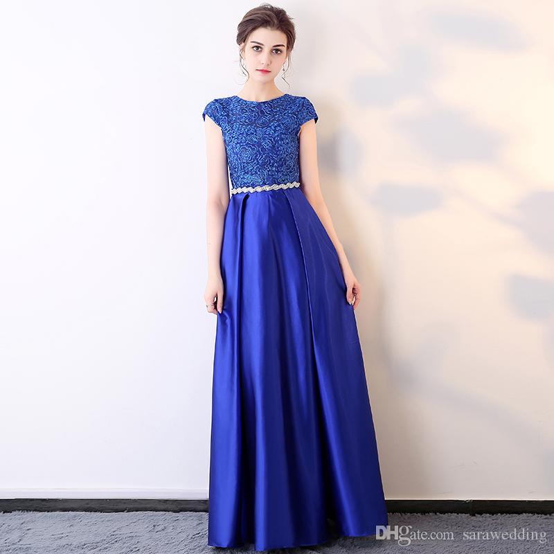 Mangas curtas de Cetim Longos Vestidos de Noite de Ouro Preto Azul Royal Party Dress com Sash Zipper Voltar Prom Vestidos