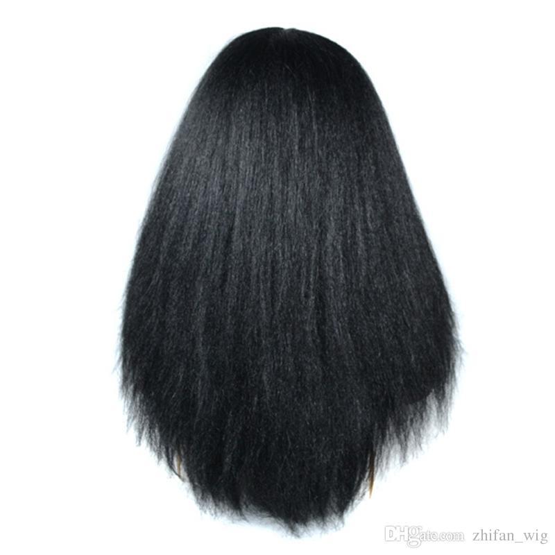 ZhiFan 24Inch Black African Yaki Kinky Wigs Black Yaki Long Straight Hair Heat Resistant Curly Hair For Women