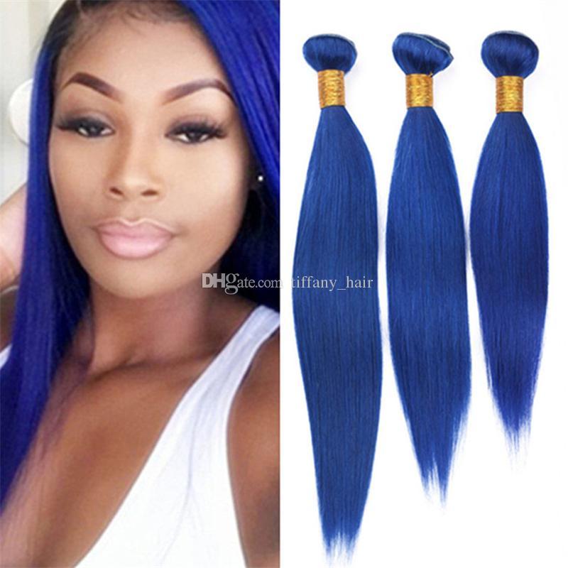 Virgin Brazilian Blue Human Hair Weave 3 Bundles Deals Silky