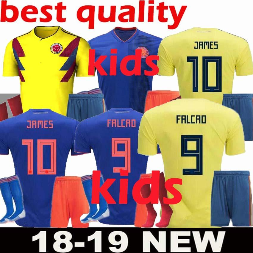 JAMES 2018 World Cup Colombia Soccer Jersey Kids Kit 2018 Colombia Home  Yellow Soccer Jerseys Child Soccer Shirts Uniform Jersey Shorts SOCK UK  2019 From ... b375ddd9d
