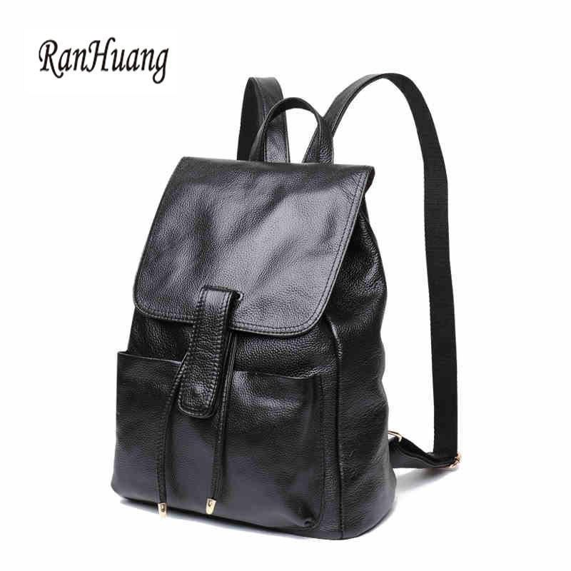 bcd5955af2 RanHuang Brand High Quality Women Genuine Leather Backpack New 2017 ...