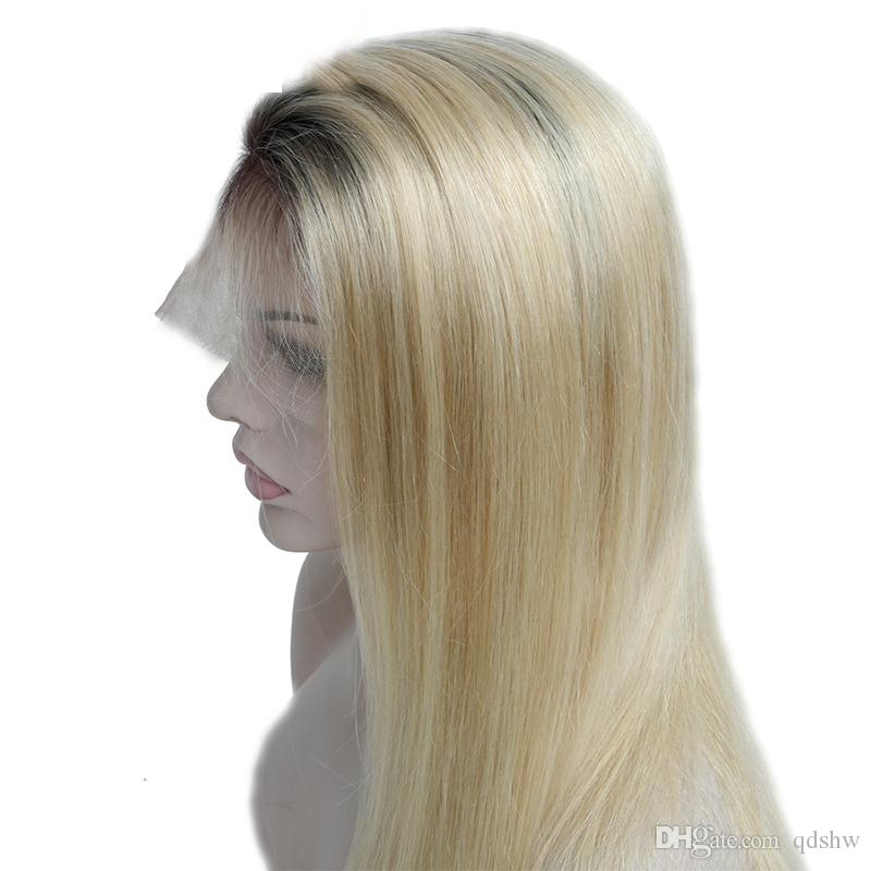 Blonde 613 del cordón del pelo peluca para mujeres blancas brasileño de la Virgen sin cola recto sedoso rubio humano pelucas de pelo con el pelo del bebé