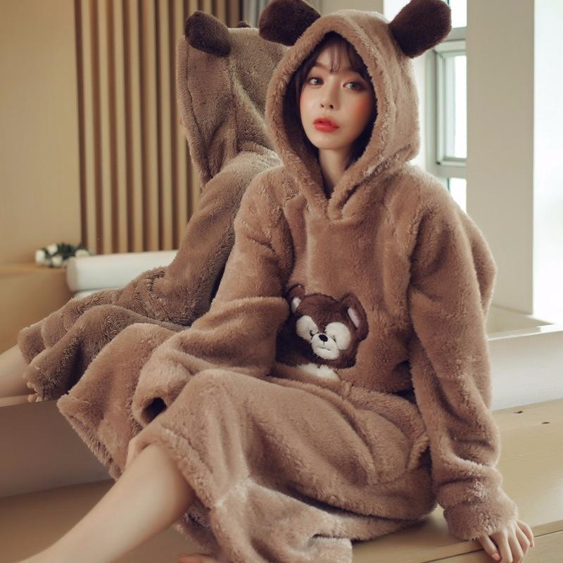 359fd534be88 Flannel Nightdress Cute Sweet Hooded Coral Cashmere Student Warm One-piece  Pajamas Pajamas Sleepwear Nightwear Online with  37.6 Piece on Xiuyi02 s  Store ...