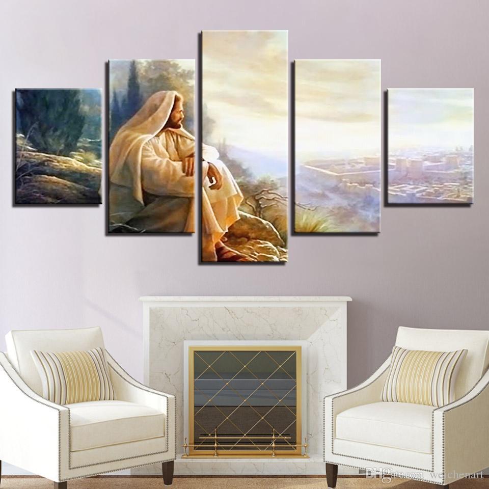 Toile HD Impressions Peintures Modulaire Mur Art Gloire À Dieu Photos Cadre 5 Pièces Jésus Christ Affiche Décor À La Maison Salon
