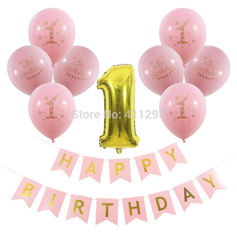 2019 1st Happy Birthday Banner First Party Decorations Gold Printed Balloons Pink Girl Blue Boy Kids Supply From Suozhi1992
