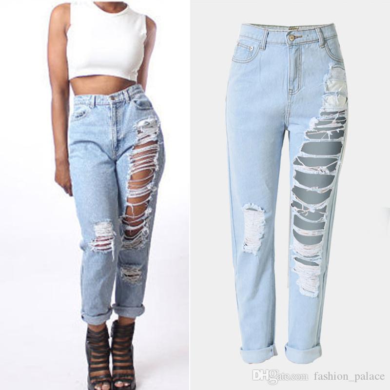 e5a523954b42f Acquista Jeans Boyfriend Strappati Strappati Da Donna Pantaloni Juniors A  Vita Alta Con Borchie Distrutti Pantaloni Denim Club BSF0321 A  28.15 Dal  ...
