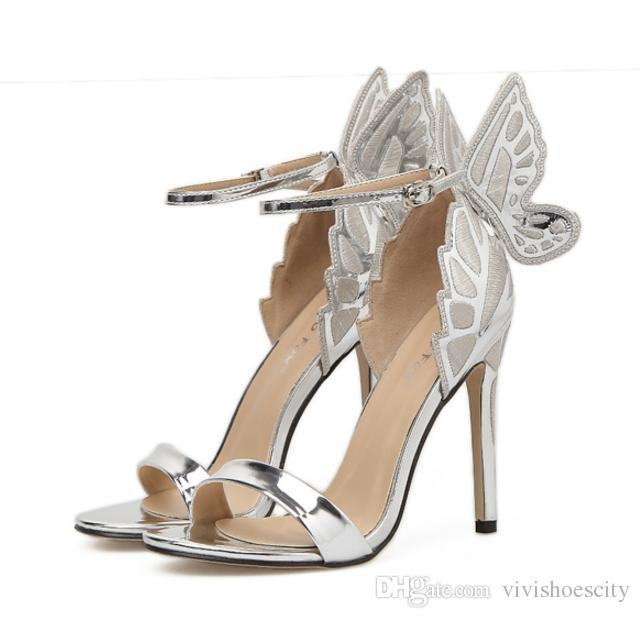 0cf773a76cd Bride Wedding Shoes Silver Butterfly Ankle Strap Pumps Silver Champagne  Black Size 35 to 40