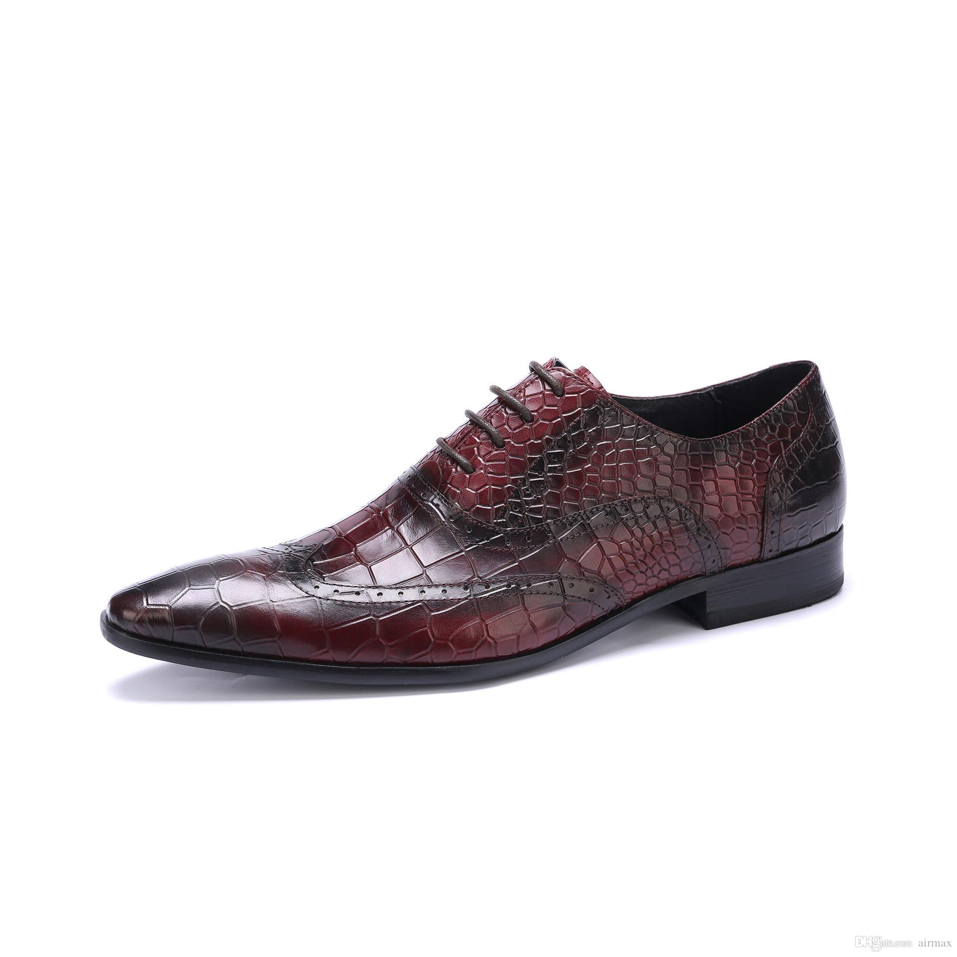 980657e3b5391b Men Formal Shoes England Fashion Python Snake Pattern Genuine Leather Dress  Shoes For Wedding Groom Red Pointed Toe Shoes Mens Shoes Online Mens Dress  Boots ...