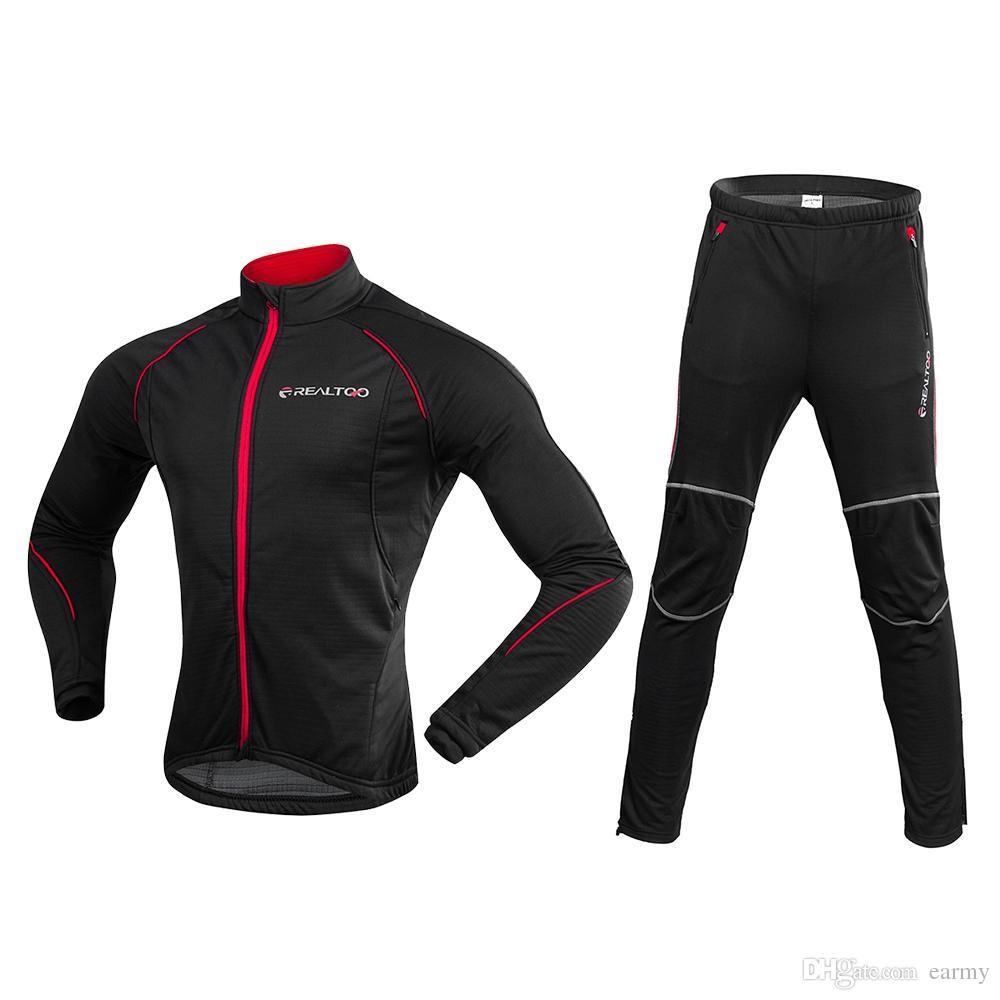 84cde665c Men Bike Bicycle Running Jacket Clothing Set Winter Fleece Thermal Coat  Jersey Windproof Sport Jersey Bike Bicycle Riding Pant Running Sets Cheap  Running ...