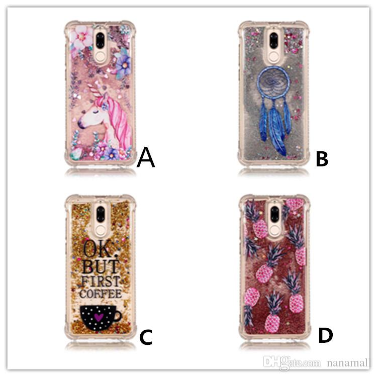 quality design d1bbc a62cb Shockproof Cover Mate10 Lite Quicksand Liquid Case for Huawei Mate 10 Pro  Stars Coffee cup Unicorn pineapple owl 5 styles in stock