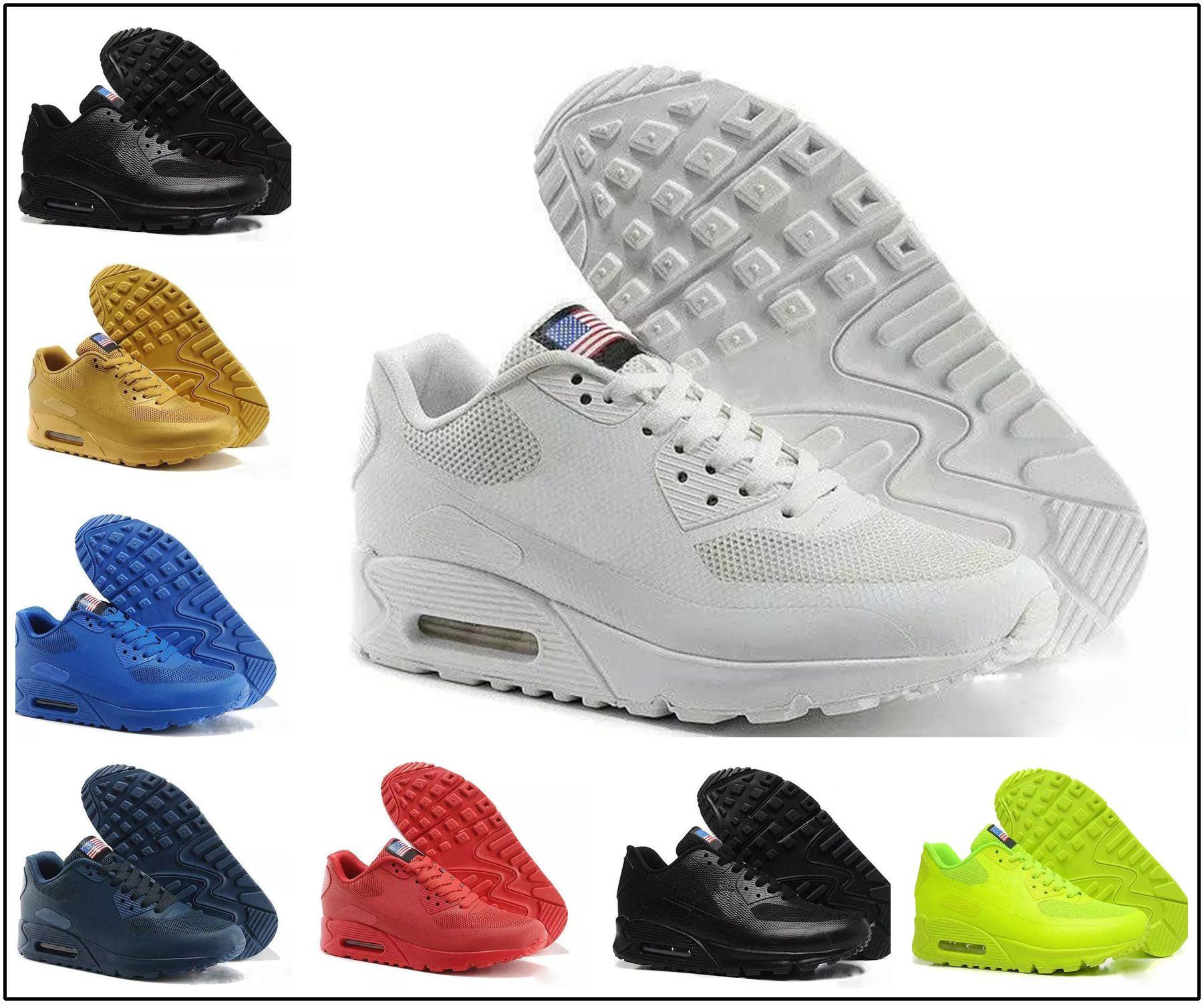 timeless design 5489f 3f4d2 Compre Nike Air Max 90 HYP PRM QS 2018 NUEVOS 90 HY PRM QS Hombres Mujeres Zapatos  Para Correr 90s HyperS Fusible American Flag Negro Blanco Azul Marino Oro  ...