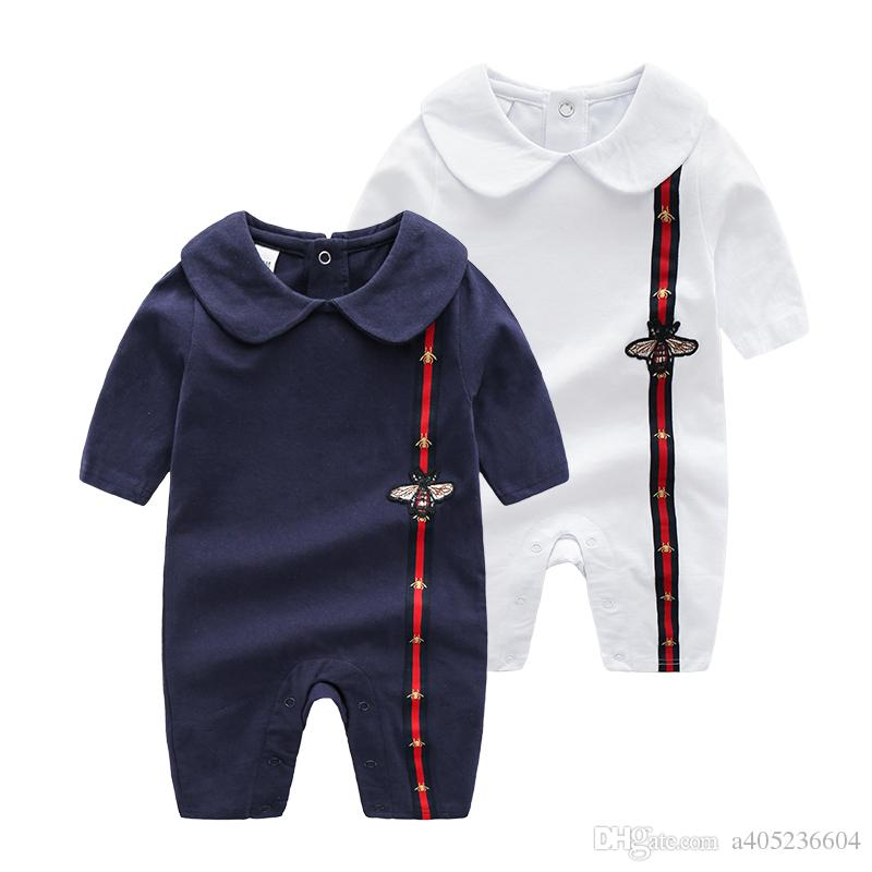 a62e3eeaaca4 2019 Cartoon Baby Boys Jumpsuit Autumn Stripe Bee Long Sleeve Infant ...