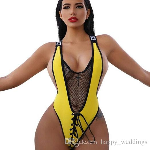 Front Cross Lace Up Sexy Green Bodysuit Feme Summer V Neck Black Mesh Patchwork Short Yellow Catsuit Beach Wear Playsuit
