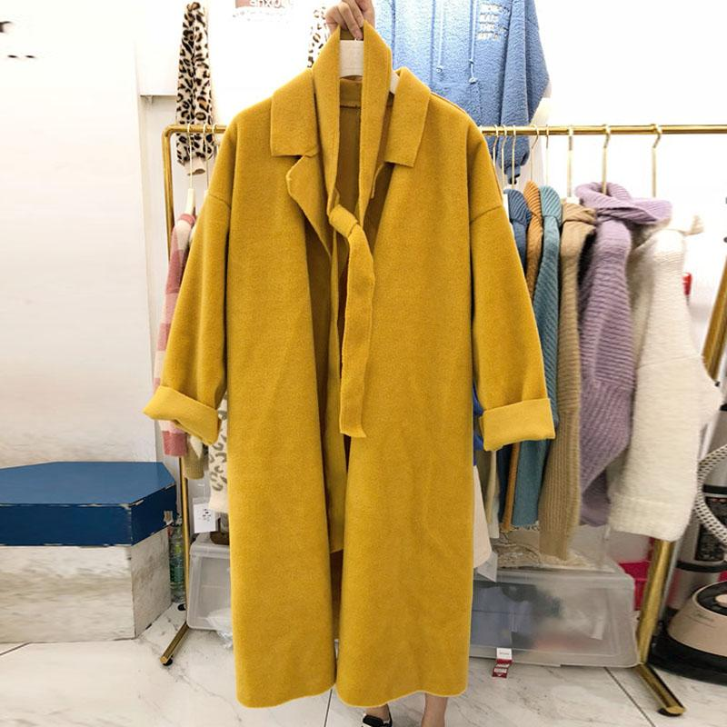e8f58df6 2019 Korean 2018 Solid Women Coats Vogue Autumn Winter Woolen Trench Female  Long Sleeve Casual Tops Ladies Casual Loose Windbreakers From Maluokui, ...