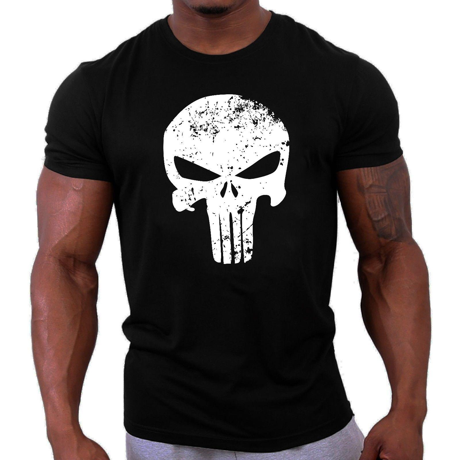 2445cd98a8e1b Punisher T Shirt Black Traininger Gymer Runer Workout Fighting Short Sleeve  Runing Cotton Low Price For Teen Boys