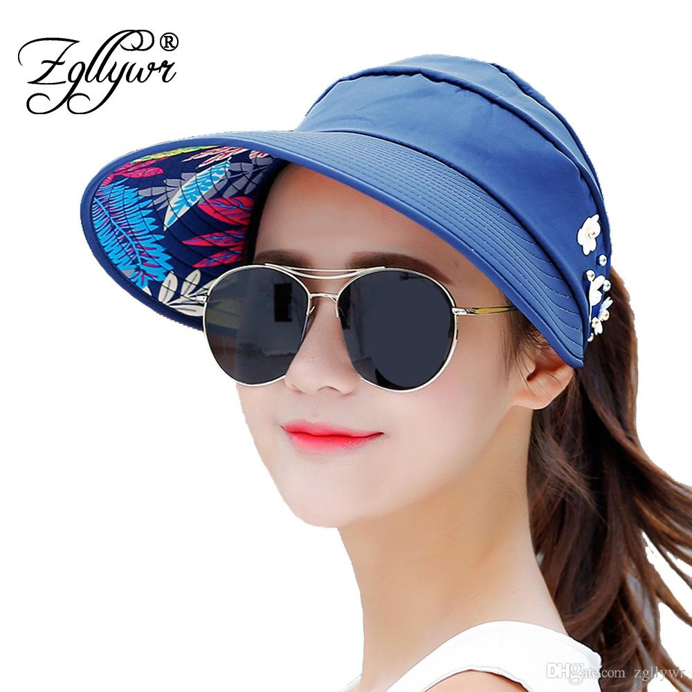 2018 Zgllywr Sun Hats For Women Packable Visor Wide Brim UV Protection Cap  From Zgllywr 39a471a8459