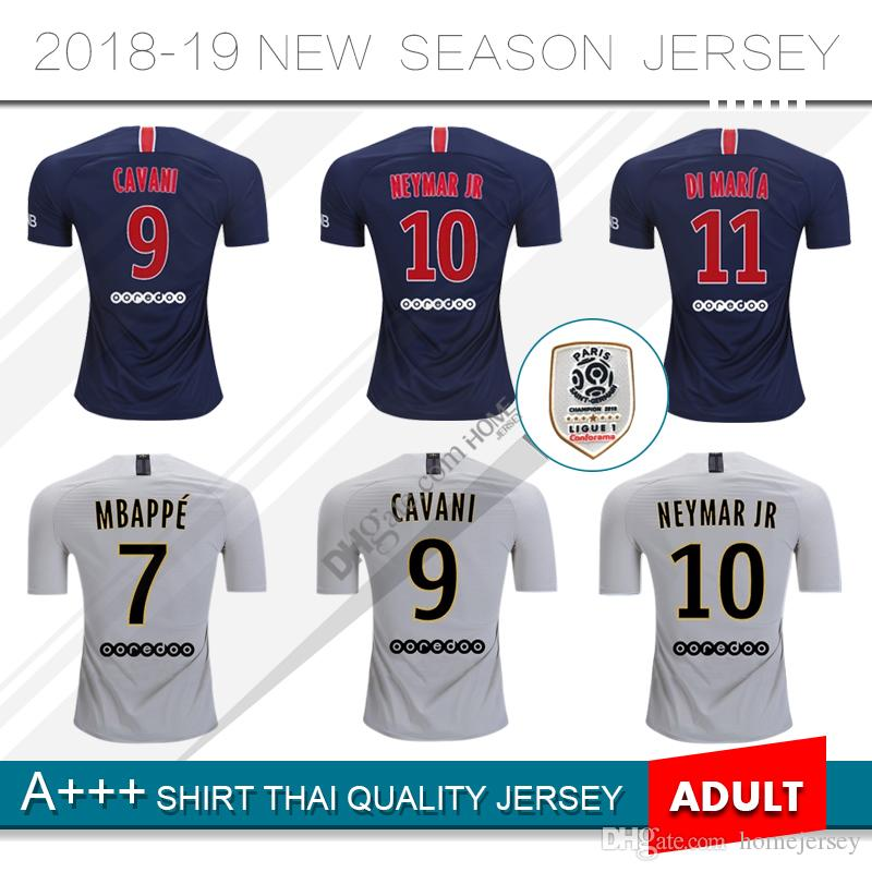 b3753f0172 Compre 2019   10 MBAPPE PSG Casa Camisa De Futebol 18 19   11 DI MARIA  Camisa De Futebol   9 CAVANI 2018 Paris Saint Germain De Distância Uniforme  De ...