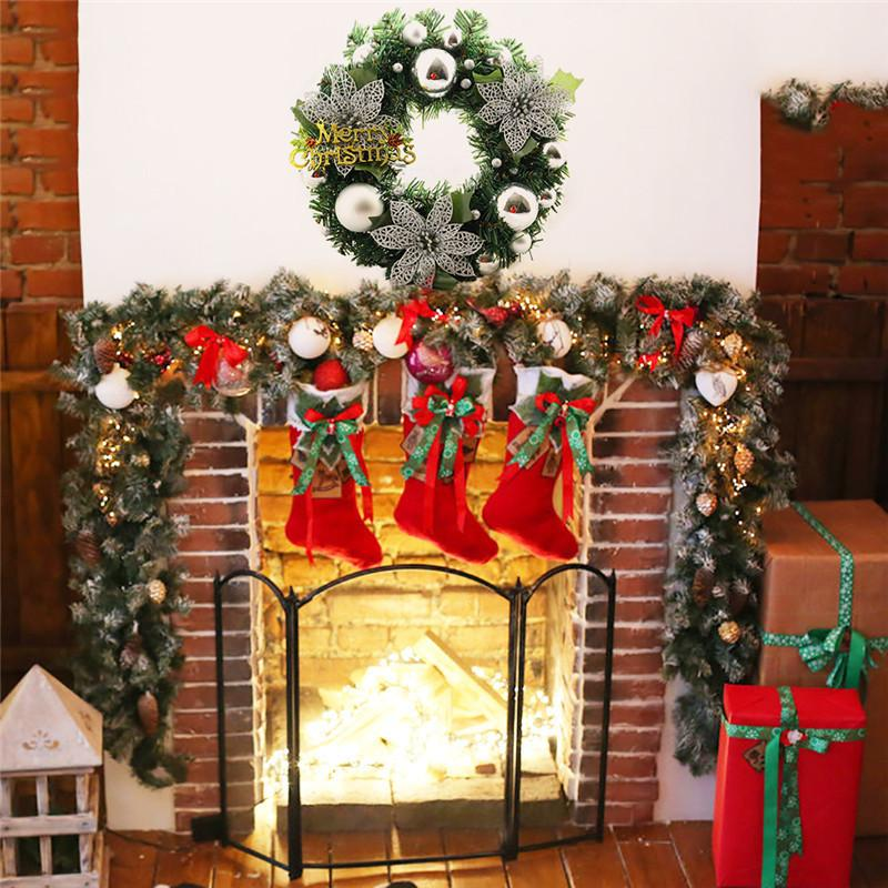 wholesale newest christmas wreath pine needles band christmas decoration bowknot ornaments xmas garland home door decor for wedding party christmas yard - Wholesale Christmas Yard Decorations