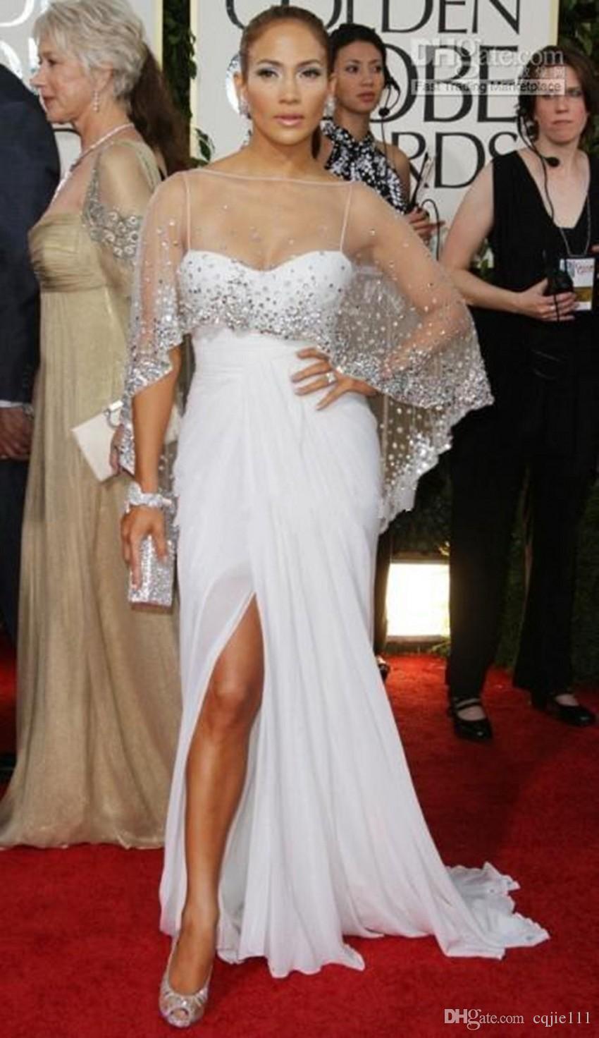 Großhandel 19 Neue Jennifer Lopez Abendkleider Inspiriert Promi Kleider  Spaghetti Mit Sheer Crystal Wrap Seitenschlitz Chiffon Bodenlangen Kleider