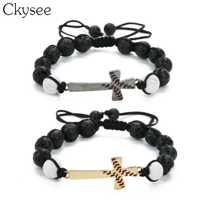 Ckysee Handmade Braided Macrame Black Lave Stone Beaded Bracelet Baseball  Cross Bracelet Christian Jewelry For Women And Men