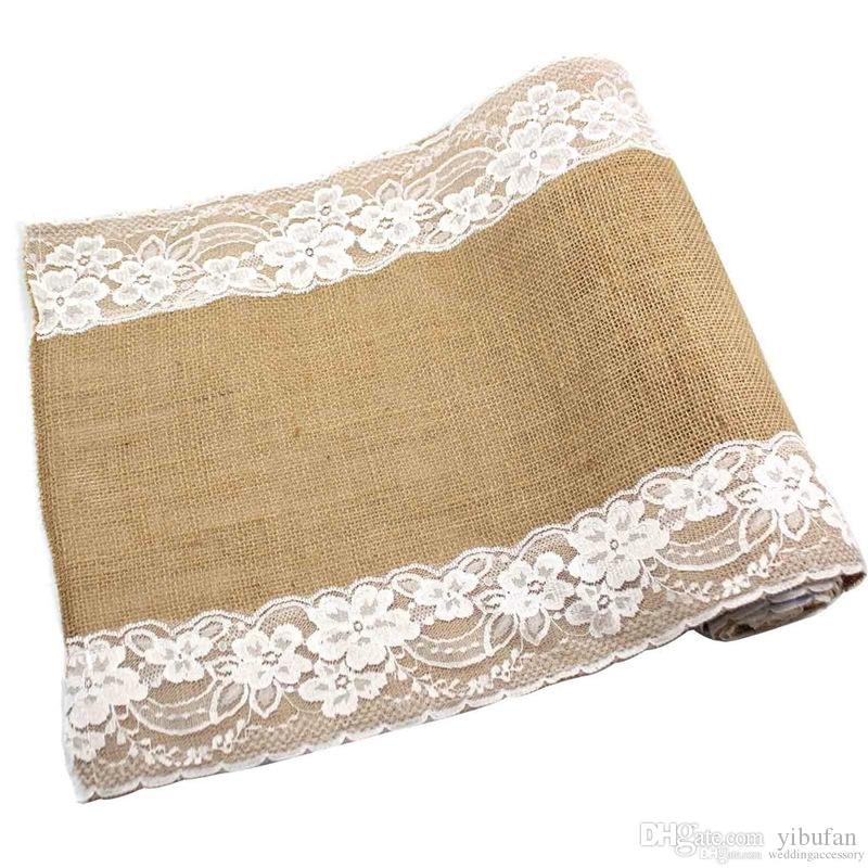 275cmx30cm Vintage Natural Burlap Jute Linen Table Runner Lace Cloth For Dinning Room Restaurant Table Gadget Home Decor