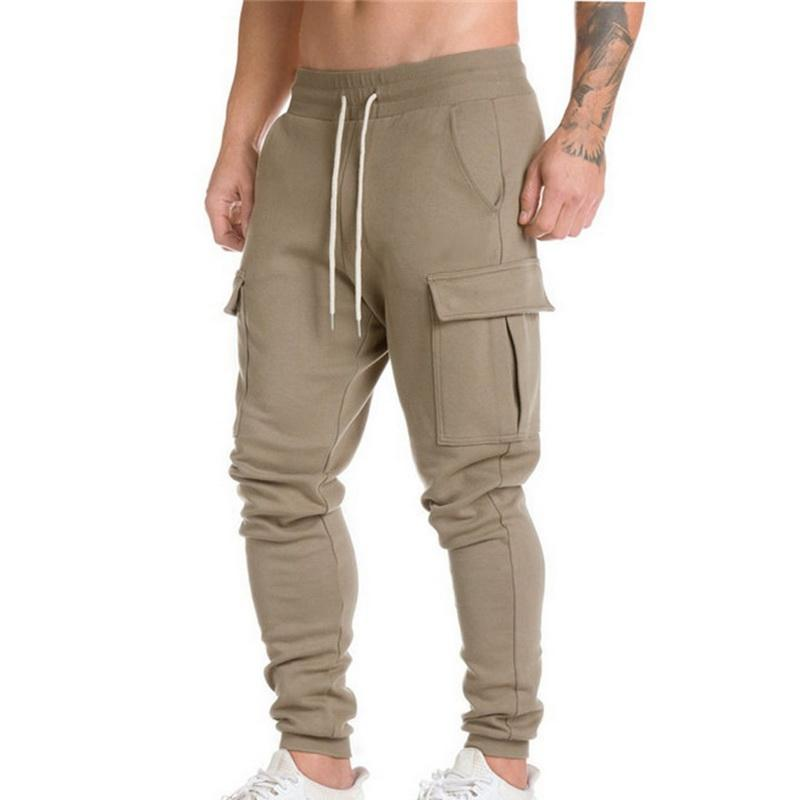 2018 New Men Army green Running Pants With Pocket Loose Sport Hiking Trousers Fitness Jogger Autumn Harem Pants Camo Trousers