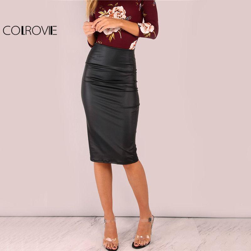4d7642258c65a5 2019 X COLROVIE Black Coated Midi Pencil Skirt Wide Waistband Elegant Women High  Waist Skirts 2017 New Summer Sexy Lady Work Slim Skirt From Ruiqi02, ...