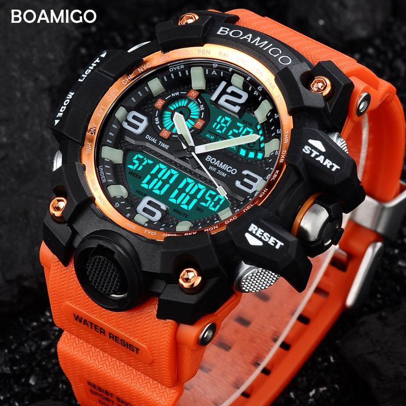 fa6f531804d Compre X Homens Esportes Relógios Boamigo Marca Digital Led Orange Choque  De Natação De Quartzo Relógios De Pulso De Borracha À Prova D  água Relógio  ...