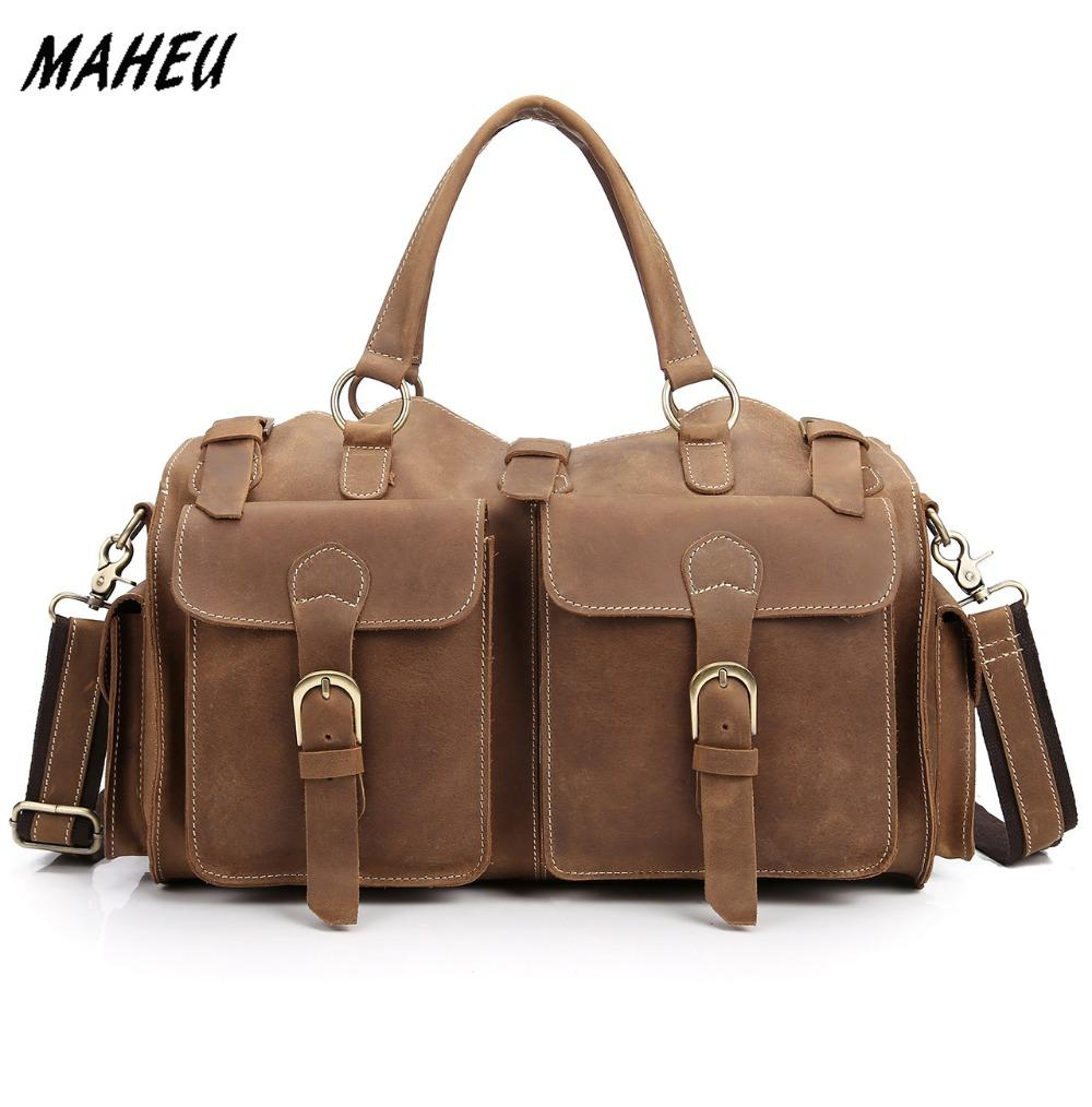 a4aa58c147a7 High Quality Cowhide Genuine Leather Travel Tote Men Multi Pocket ...