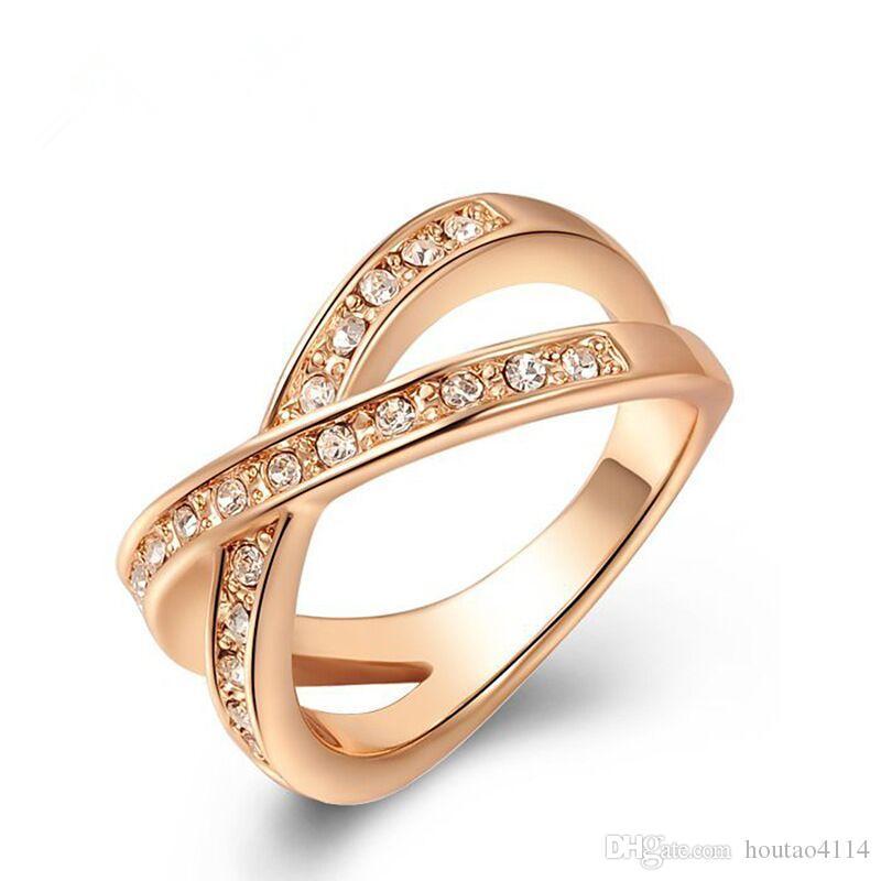 Anel de diamante em forma de mulheres 2018 austríaco ouro rosa de ouro anel de diamante de cristal, moda grande incrustada jóias anéis de banda feminina