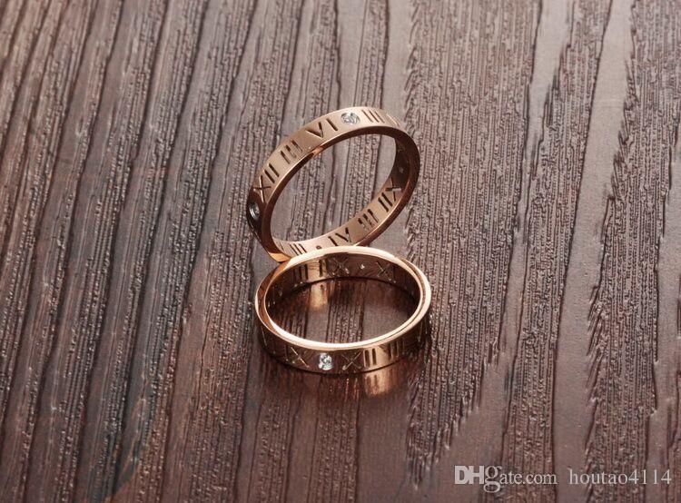 الرومانية إلكتروني انقطاع النسائية خاتم الماس، أزياء السيدات روز الذهب خاتم، خواتم الأرقام الرومانية خواتم الفرقة النسائية