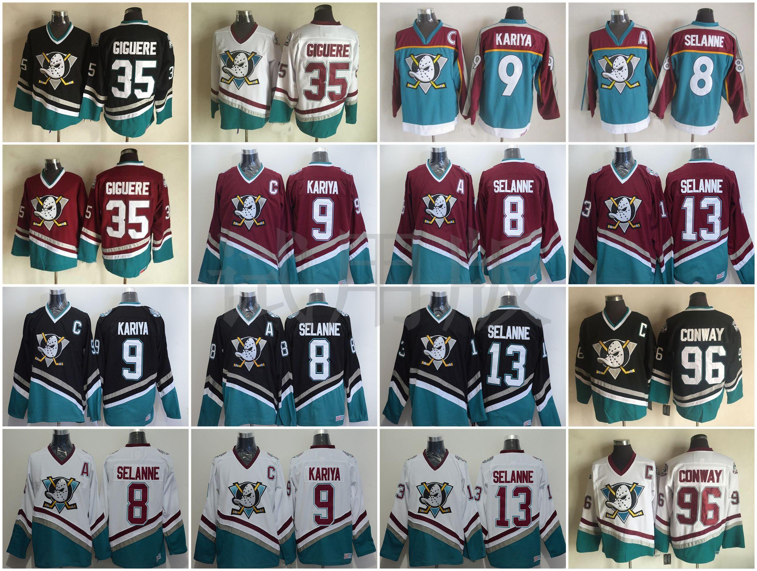quality design 59667 9f462 ... promo code for 2019 vintage anaheim ducks hockey jerseys 8 teemu selanne  9 paul kariya 96