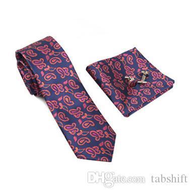 f47603cb959a Mens Geschenk Business Krawatte Set Herren Accessoires Mode Paisley Cashew  Blume Krawatte Handtuch Manschettenknöpfe Großhandel