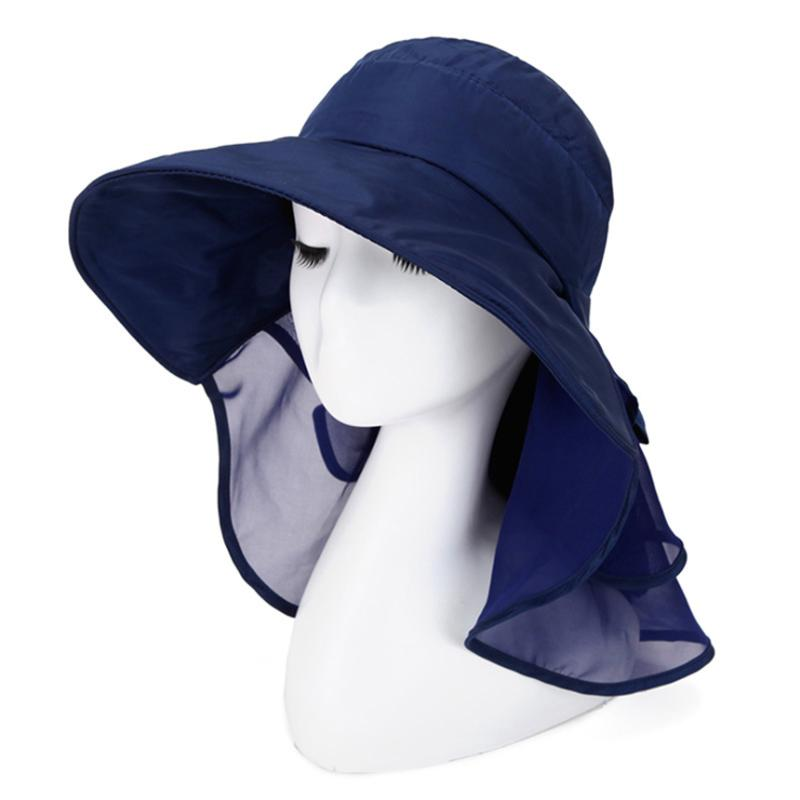 a46bb6e274b Summer Sun Hats For Women Simple Anti UV With Foldable Scarf Hat Little Flower  Design Protect The Neck Turban Bowknot Caps Knit Hats Bailey Hats From ...