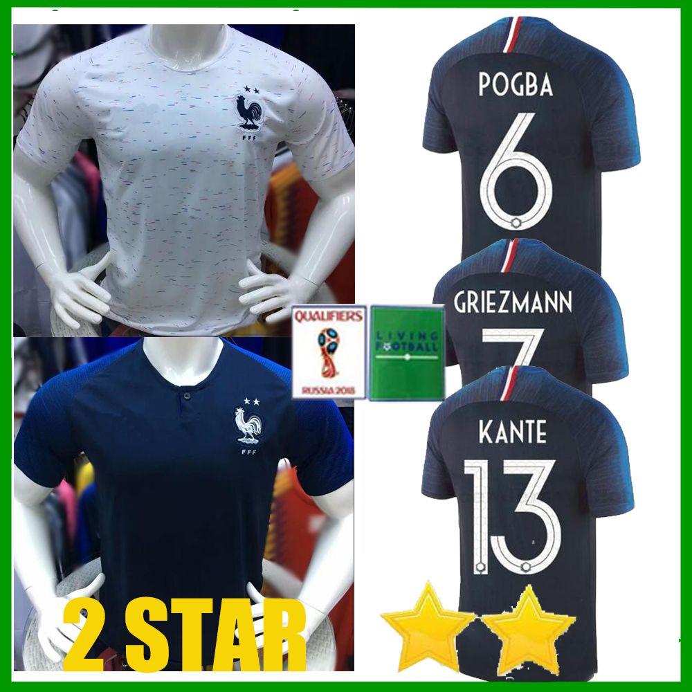 New 2 Star 2018 World Cup Soccer Jerseys GRIEZMANN POGBA DEMBELE ... b9e74abe3